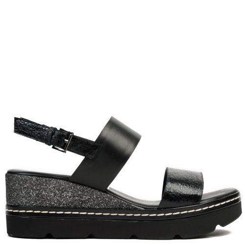 Black leather platform