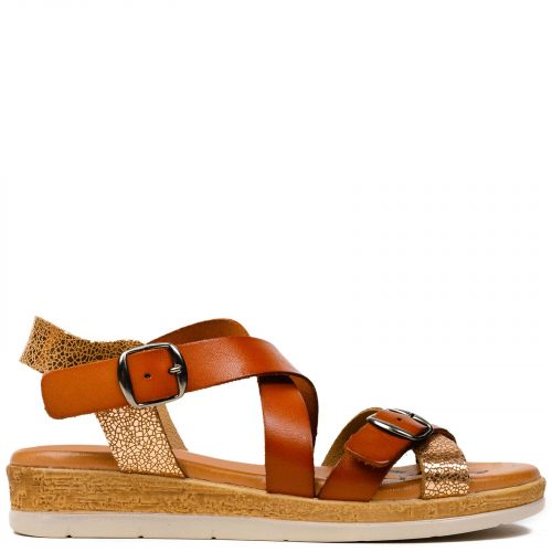 Tobacco leather flatform with crossed straps