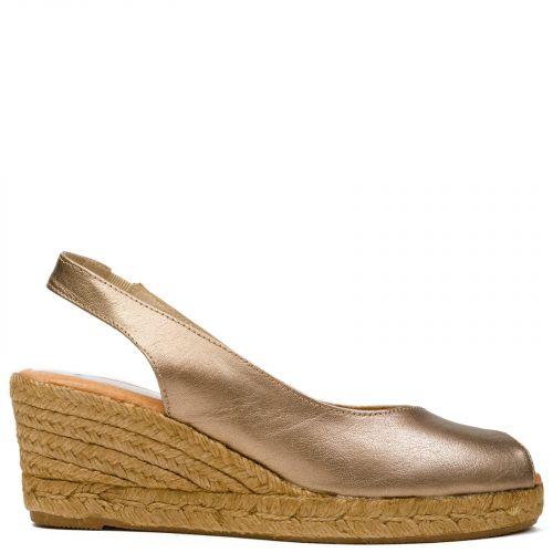 Bronze peep toe leather espadrille