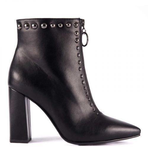 Black high heel bootie with studs