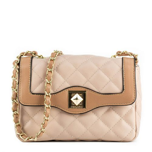 Nude quilted handbag