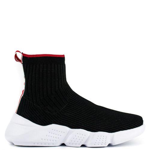 Black slip on sneaker boot