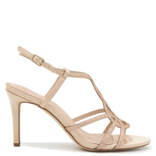 Beige high heel sandal with rhinestones