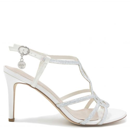 White high heel sandal with rhinestones