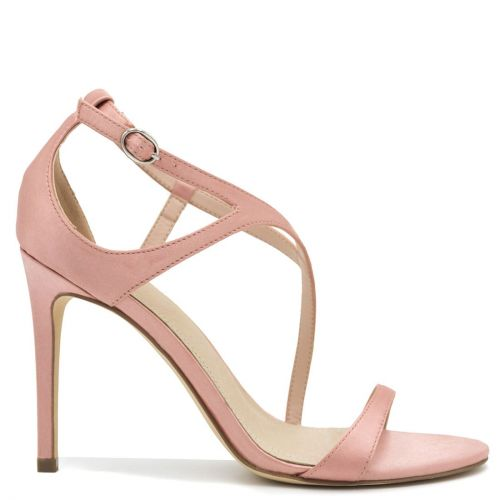 Pink satin high heel sandal