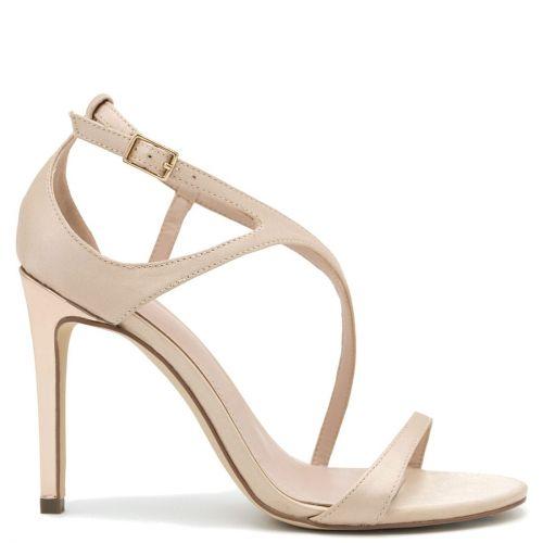 Beige satin high heel sandal