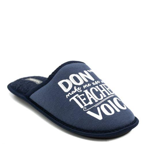 Men's navy indoor slipper with print