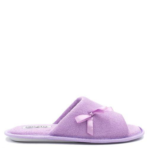 Women's purple open-toe slipper with bow
