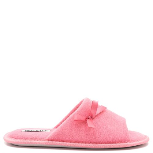 Women's pink open-toe slipper with bow