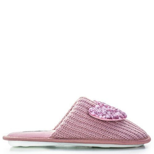 Pink slipper with sequin heart