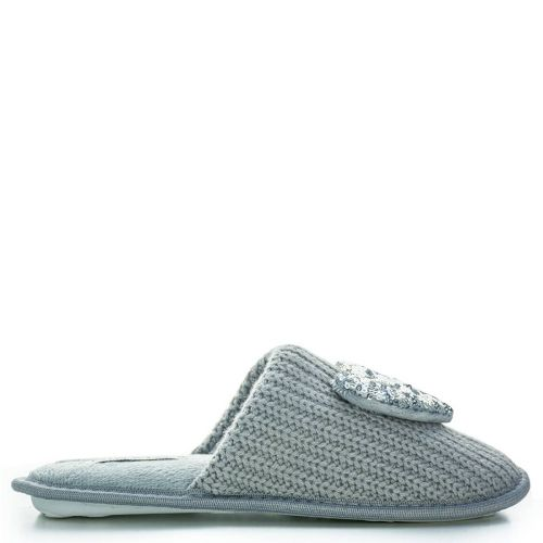Grey slipper with sequin heart