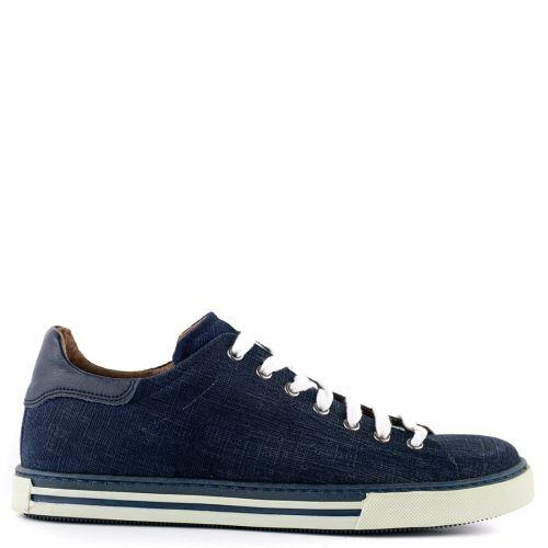 Μπλε δερμάτινο ανδρικό sneaker