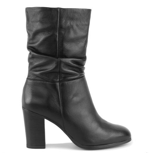 Black leather bootie