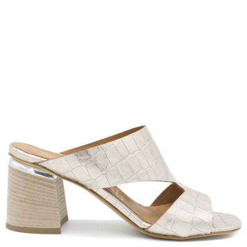 Gold leather mule sandal