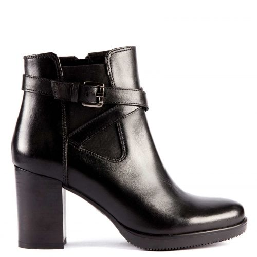 Black leather low cut bootie with buckle