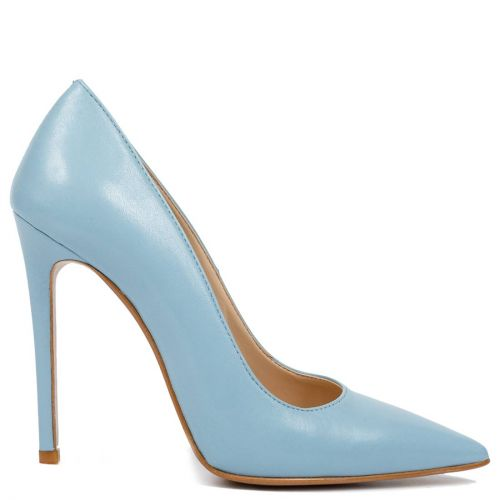 Light blue leather pointed pump