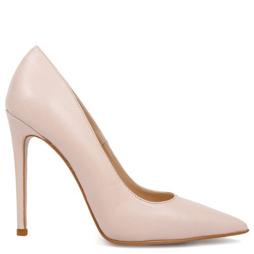 Nude leather pointed pump