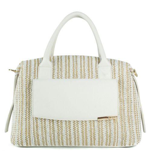 Άσπρη ψάθινη τσάντα χειρός