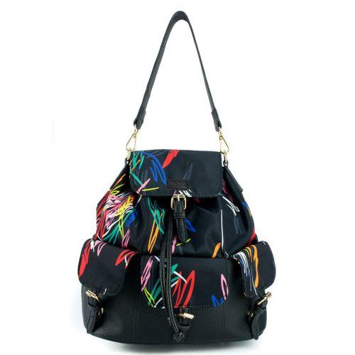 Πολύχρωμη τσάντα πλάτης με καπάκι