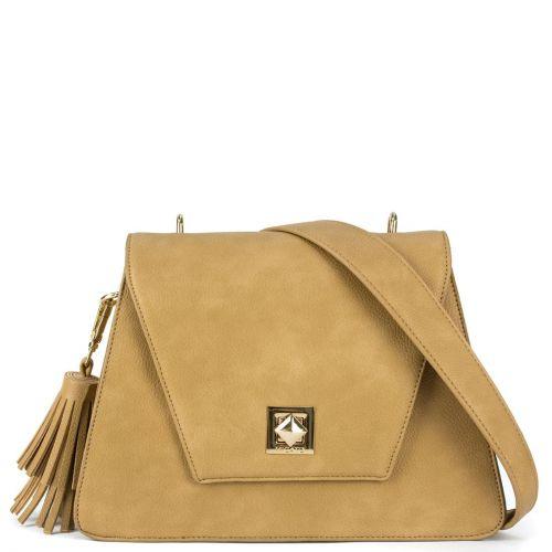 Μπεζ τσάντα με διακοσμητική φούντα