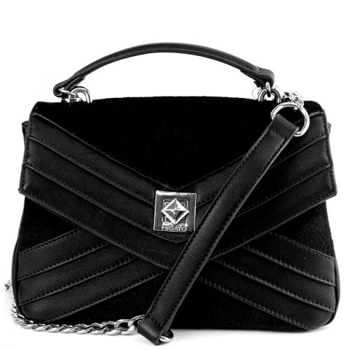 Black handbag with flap