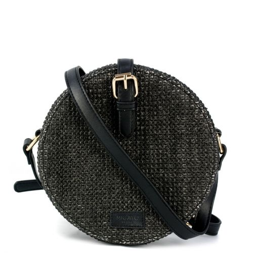 Black round crossbody bag