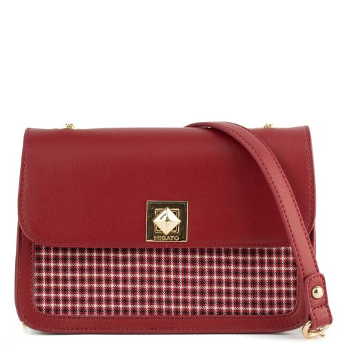 Red check handbag with a flap