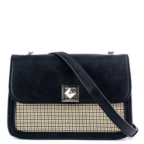 Black check handbag with a flap