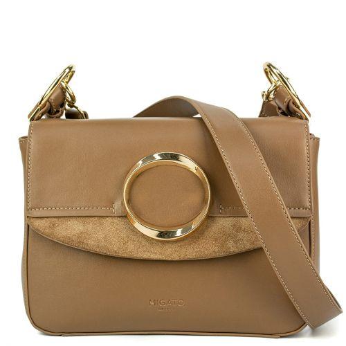 Beige handbag with a metal buckle