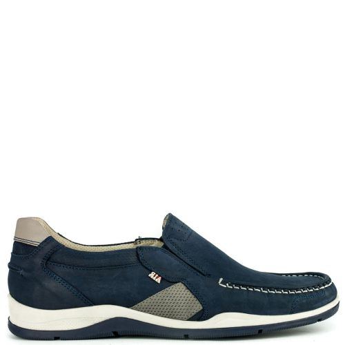 Men's navy leather boat shoe