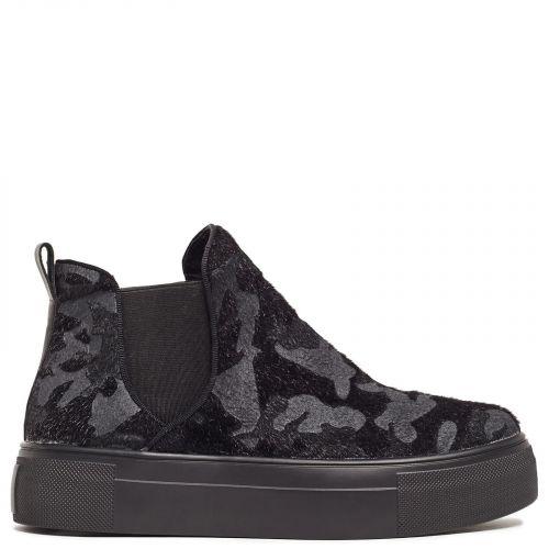 Black flatform sneaker with pony skin