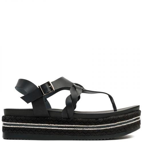 Flatform sandal in black with rhinestones