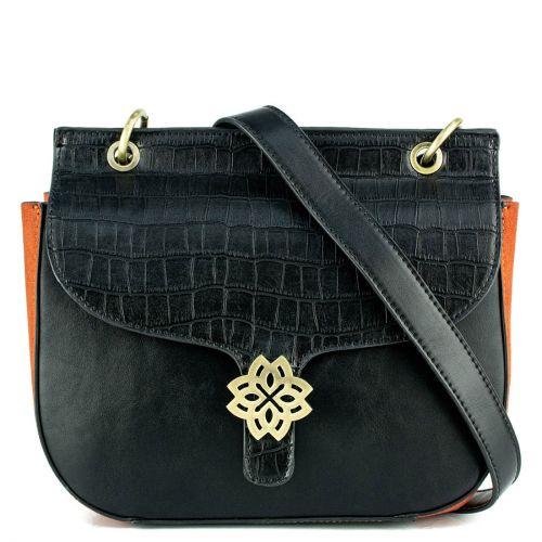 Black handbag with flap