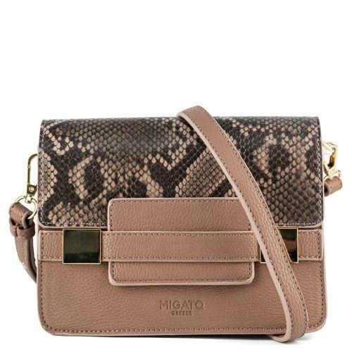 Taupe handbag with snake flap