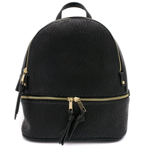 Black backpack with embroidery
