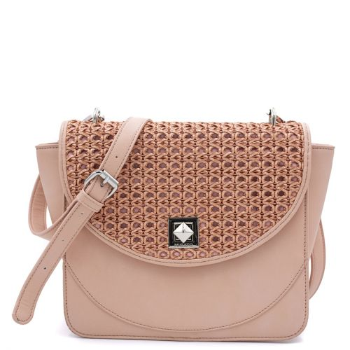 Ροζ τσάντα με πλέξη