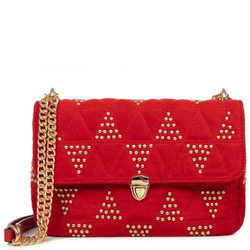 Red shoulder bag with studs