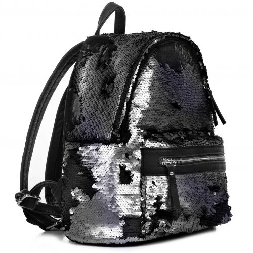 Pewter sequin backpack