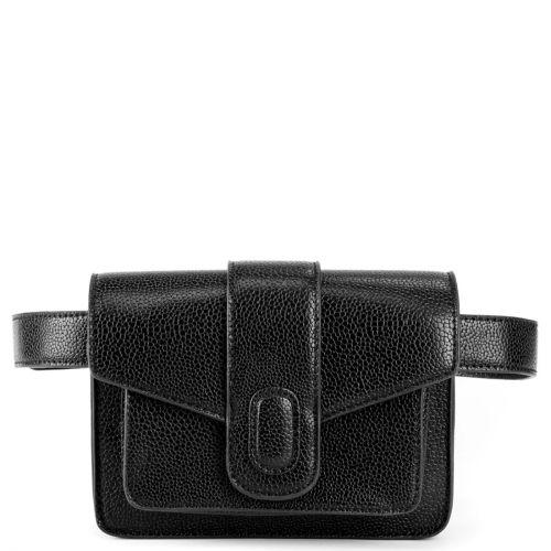 Black waistbag with a flap