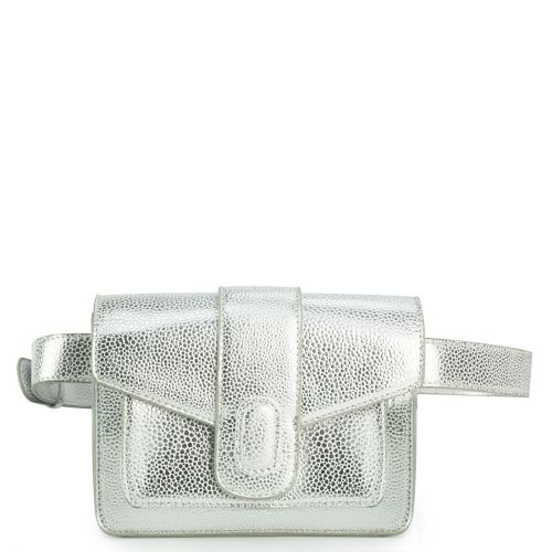 Silver waistbag with a flap