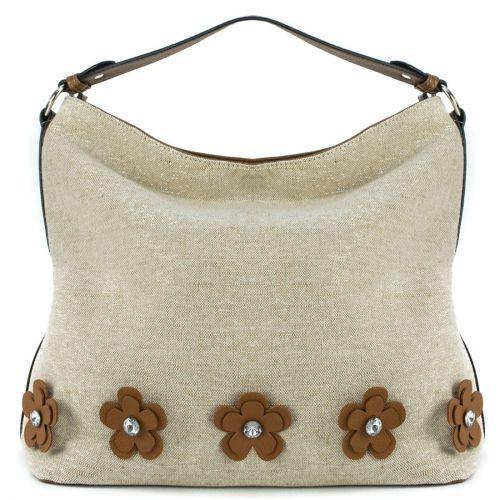 Beige fabric hobo with flowers