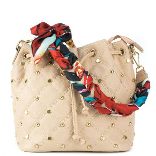 Nude drawstring bag with scarf