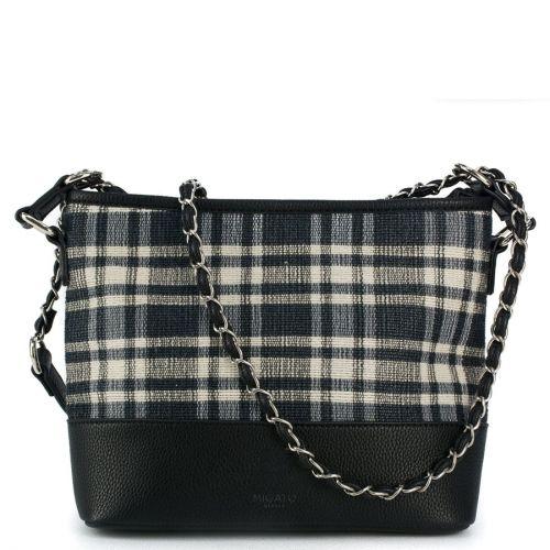 Μαύρη τσάντα καρό υφασμάτινη