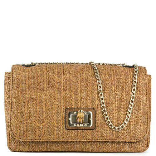 Straw shoulder bag with switch