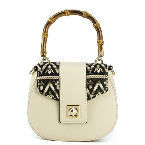 Beige crossbody with wooden handle