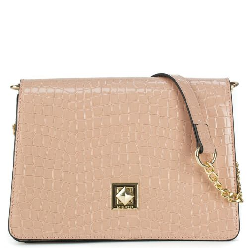 Nude croc pattent shoulder bag