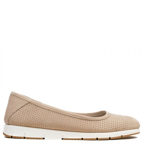 Beige leather ballet flat