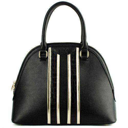 Black handbag with metallic stripes