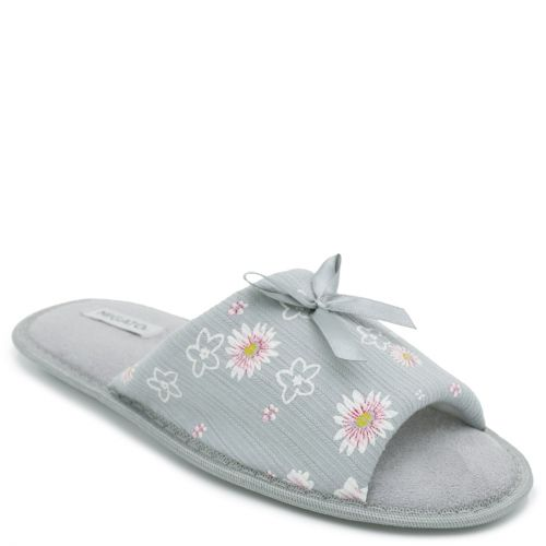 Women's grey open-toe slipper with flowers