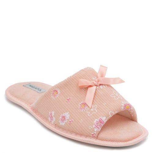 Women's peach open-toe slipper with flowers